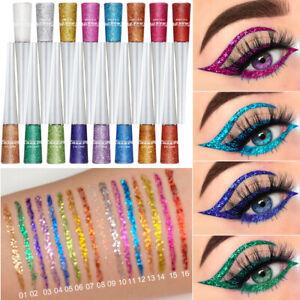 16pcs Waterproof Shiny Eyeshadow Glitter Liquid Eyeliner Long-Lasting Eyeliner