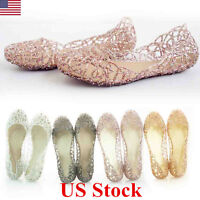6e6f2bfd797fba Hot Womens Round Toe Crystal Shoes Jelly Hollow Out Sandals Flat Low Heel  Shoes