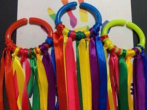 New baby 0-6 months Sensory Rainbow Ribbon Link Ring Gift Baby Girl Boy
