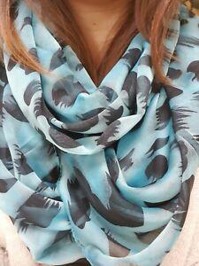 Pigment Shiny Blue & Black Animal Print Women Wrap Soft Chiffon Scarf