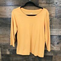 J Jill Women's Orange Pima Cotton Ballet Sleeve Tee 100% Pima Cotton Sz LP