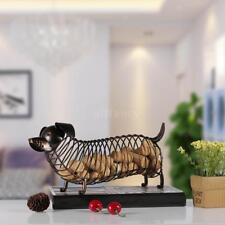 Tooarts Dachshund Wine Cork Container Iron Craft Animal Ornament Art Brown J4x6