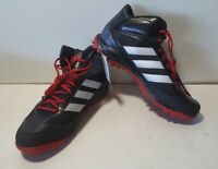 NEW Adidas Turf Hog LX Mid Black/Red w/ Gray Stripes Football Cleats D70190
