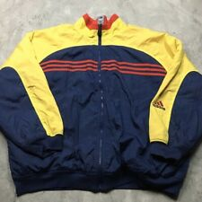 ADIDAS VINTAGE 90s REVERSIBLE XL Jacket Fleece Lined Red Blue Yellow Bomber