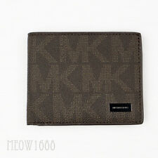 New Authentic Michael Kors Men JET SET Brown Logo Signature Slim Billfold Wallet