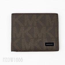 New Authentic Michael Kors Men JET SET Brown Logo Signature Slim Billfold Wallet