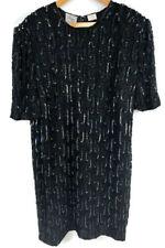 VTG Stenay Plus Silk Evening Formal Dress Black Sequins Beads Size 22