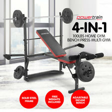 Powertrain HOME GYM BENCH PRESS MULTISTATION WEIGHS FITNESS EQUIPMENT w BARBELL