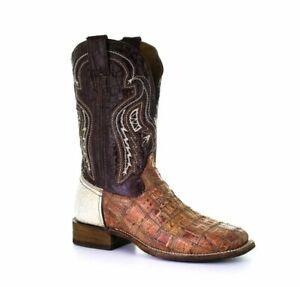 Corral Men's Caiman Patchwork Square Toe Western Boot, Bone/Cognac, 10.5EE