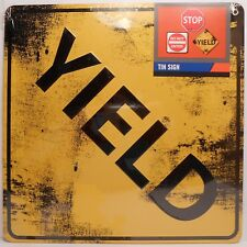 Tin Road Sign YIELD Weathered Look Wall Decor Plaque NEW