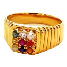 Natural Gemstones For Astrology Purpose Navaratna Man's Ring 14k Gold Finish $$