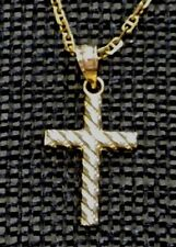 """Solid 14K Yellow Gold 20mm Cross Pendant on 18"""" Chain 3.3gr 180676"""