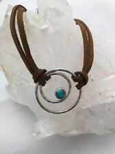 Turquoise Hand Hammered Sterling Silver Pendant Bracelet Brown Leather 925 Adjus