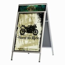 """Sidewalk Sign with Headers, Double Sided A-Frame, Silver Metal 30"""" x 40"""""""