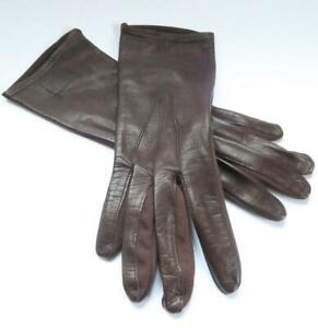 VINTAGE FOWNES LADIES DARK BROWN LEATHER & STRETCH FABRIC GLOVES SMALL 7-7.5