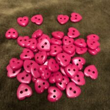 Lot of 50 half inch dark pink plastic heart buttons two hole vintage
