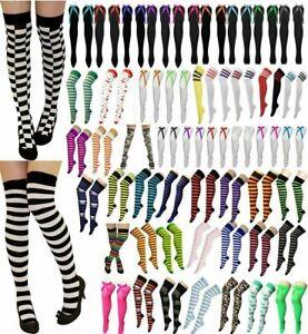 Womens Over The Knee Socks Plain & Striped Thigh High Adults Stretchy OTK Socks