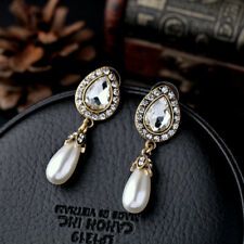 Gold Crystal Pearl Drop Earrings Art Deco 1920s Hollywood Glamour Drop Party
