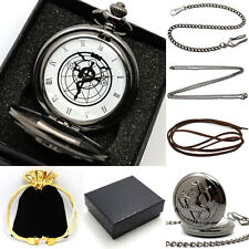 Retro Black Fullmetal Alchemist Necklace Quartz Pocket Watch Gift Set+Gift Box