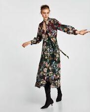 BNWT ZARA Maxi Vestido largo midi impresa que fluye Talla XL Floral Boho