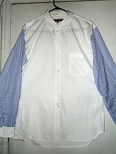 """COMME DES GARCONS SHIRT white with pieced blue pinstripe sleeves lge  ch 42"""" new"""