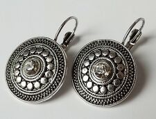 Ohrhänger Ohrringe Ethno Vintage Strass Ornament rund antik silber klar Brisur