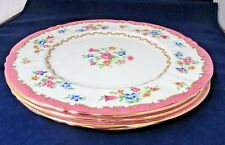 PATTERN F16165 by Crown Staffordshire Floral Dinner Plates 4 lot four