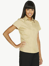 SIMON JERSEY BEIGE SEMI FITTED CHAMBRAY BLOUSE CONCEALED BUTTON SIZE 22 SMART