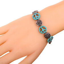 Turquoise Flower Peace Symbol oblate Bead Bracelet Bangle Tibetan Silver jewelry