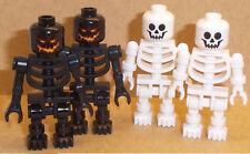 Lego 4 x Skeletons Minifigs Black & White Skeleton Minifigures