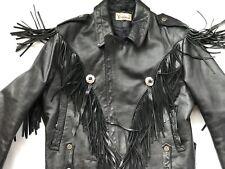 Verducci Fringe Leather Motorcycle Jacket 44 Punk Skull Button Quality Heavy