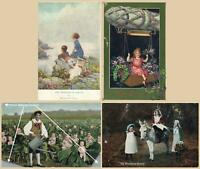 EARLY 1900's 4 x VINTAGE CHILDREN & BABIES POSTCARDS - ALL ONLY FAIR Cond!!!