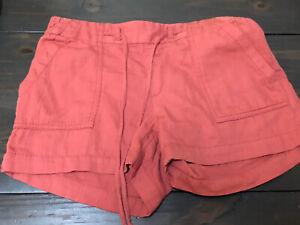 "Old Navy Women's 3.5"" Inseam Rust Mauve Linen Blend Drawstring Shorts Small EUC"