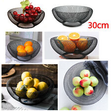 Mesh Fruit Bowl Basket Dinning Table Kitchen Vegetables Fruit Storage Rack Black