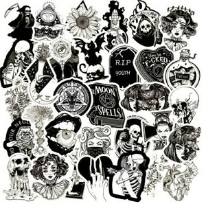 NEW MIX  20 Unusual Black and White Horror Gothic / Goth Stickers Laptop / PC'S