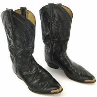 Tony Lama Boots 9 EE 2923 Longhorn Black Leather Cowboy Western Mens Pointed Toe