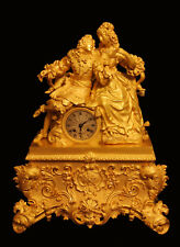 """ANTIQUE FRENCH GOLD PLATED BRONZE LOUIS XVI MANTEL CLOCK BY """"CHAVANON A RENNES"""""""