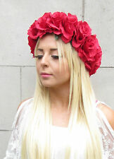 Large Red Rose Flower Garland Circlet Headband Wreath Hair Crown Festival 992