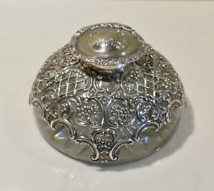 Large Glass Desk Inkwell / Paperweight with Sterling Silver Pierced Overlay 1902