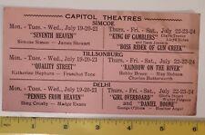 "**/RARE CANADIAN(TILLSONBURG, SIMCOE,DELHI)1937 ""CAPITOL THEATERS""MOVIE SCHEDULE"
