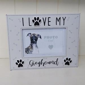 "Greyhound Photo Frame I Love My Dog Or Puppy Assorted Dog Breeds 6x4"" Grey"