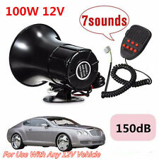 Black 100W 150DB Car 7Sound Loud Horn Warning Alarm Police Fire Siren PA Speaker