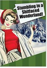 B1133 Box Set of 12 Sh*tfaced Wonderland Naughty Humor Christmas Greeting Cards