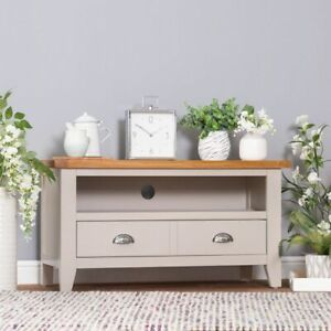 EX display Modern Chester painted oak topped tv cabinet unit