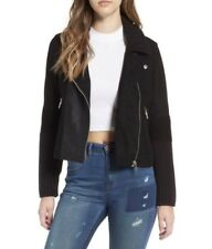 Blank Nyc Faux Suede Real Leather Cable Knit Mixed Moto Jacket Size S NWT