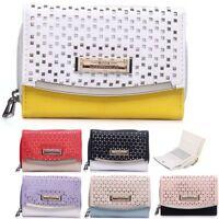 Ladies Laser Cut 2 Tone Purse Faux Leather Purse Clutch Wallet Handbag 095-133
