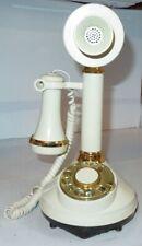 1973 Tan & Gold CANDLESTICK TELEPHONE Rotary Phone American Telecommunications