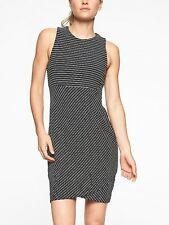 Athleta Stripe La Palma Dress in Black/ White Stripe NWT $98 MP M Petite