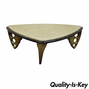 Contemporary Decorator Faux Marble Top Sculptural Triangular Coffee Table