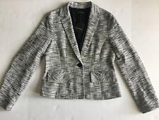 Nanette Lepore Sz10 Textured One Button Jacket Blazer White /black